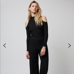 Topshop Cold Shoulder Ribbed Black Jumpsuit!